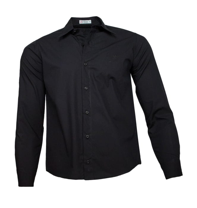 camisa-masculina-preta-poa-preto