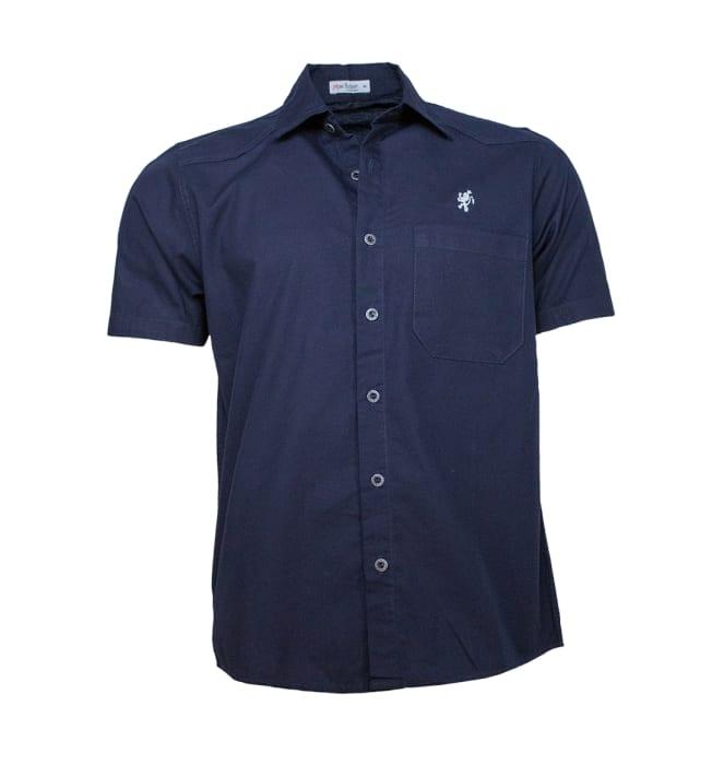 camisa-sarja-masculina-manga-curta-marinho