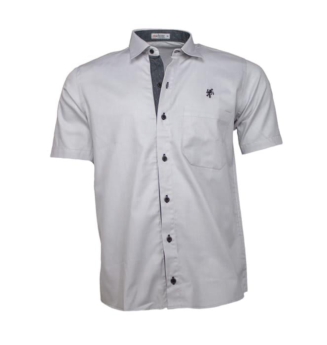 camisa-masculina-manga-curta-cinza-claro