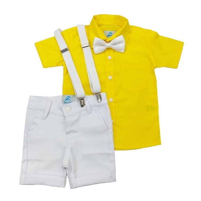 conjunto roupa social infantil masculina camisa amarela com bermuda suspensório e gravata borboleta