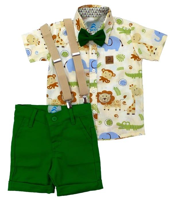 camisa infantil safari bege e bermuda verde