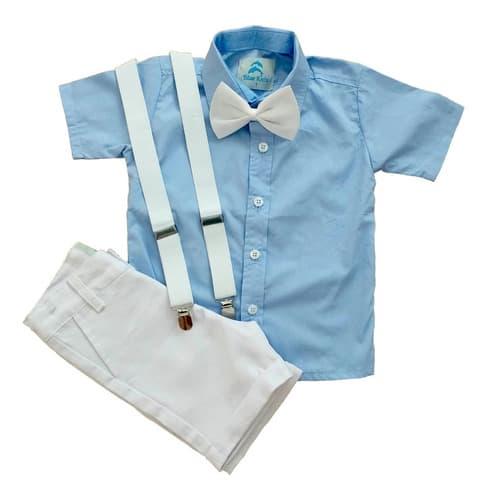 conjunto roupa social infantil masculina batizado com bermuda suspensório e gravata borboleta aniversário menino