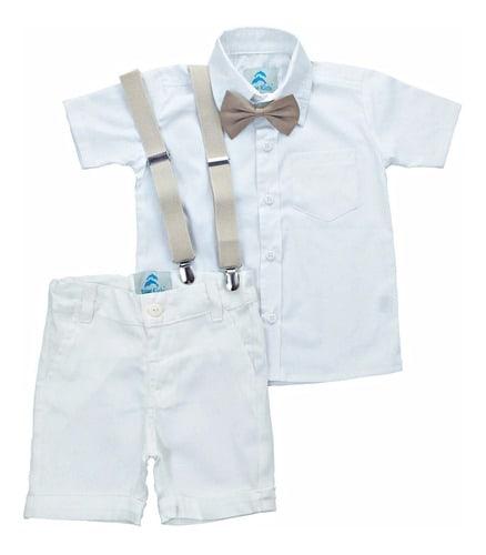 conjunto roupa de batizado infantil masculino bermuda infantil branca com suspensorio e gravata borboleta bege