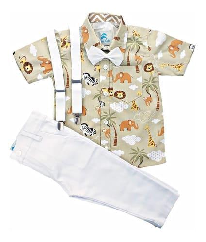 conjunto roupa infantil masculina safari calça branca
