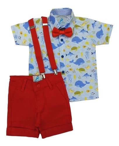 conjunto roupa infantil menino fundo do mar azul claro bermuda vermelha