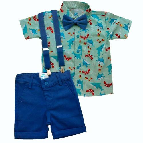 conjunto infantil roupa baby shark menino bermuda infantil azul royal
