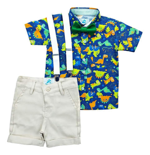 conjunto infantil roupa dinossauro bermuda bege
