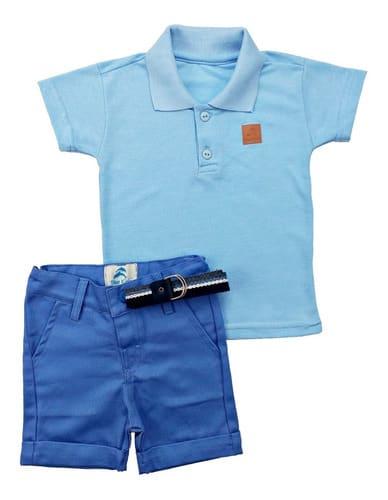 Roupa Infantil camisa Polo Azul Bebe Com Bermuda
