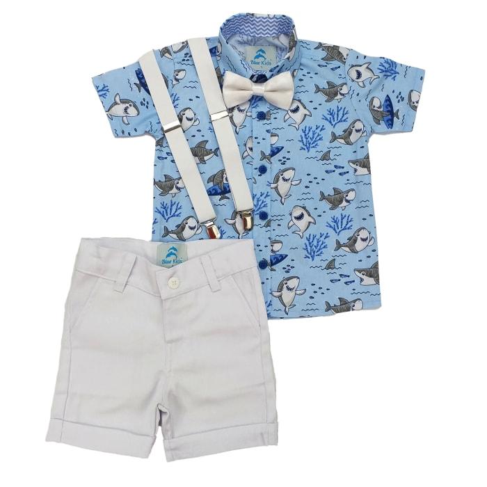 conjunto roupa baby shark azul claro e bermuda branca