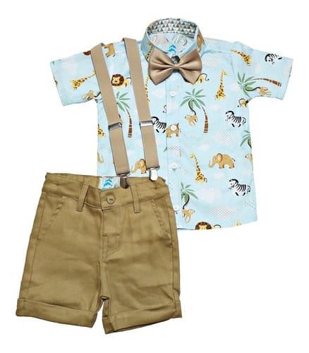 Conjunto Roupas Festa Aniversario Infantil Safari Azul
