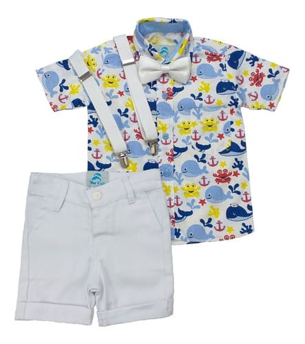 conjunto roupa aniversario infantil fundo do mar