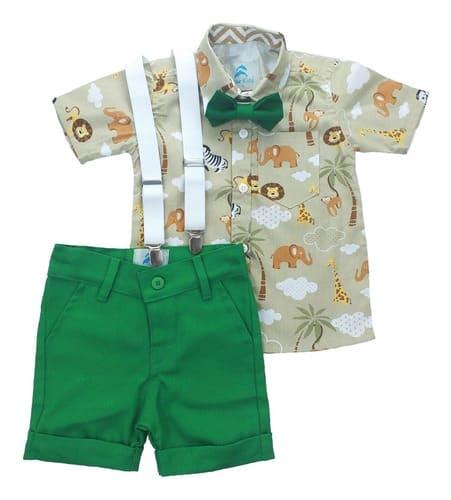 conjunto roupa infantil menino tematico safari