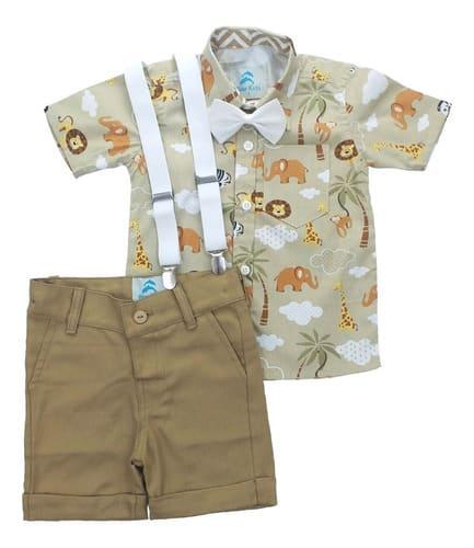 Conjunto Roupa Infantil Safari Caqui