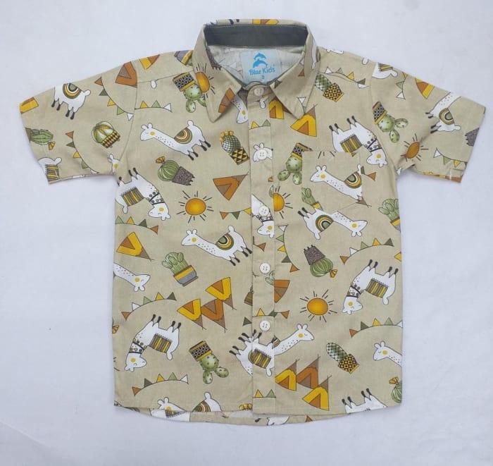 Camisa Social Infantil Lhamas Bege