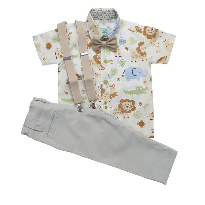 roupa safari manga curta com calça bege-min