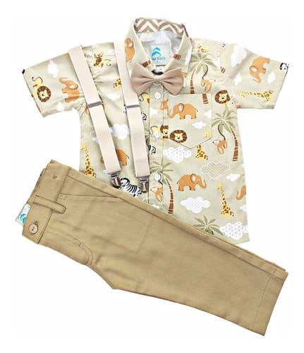 roupa infantil safari africa manga curta com calça