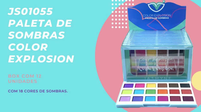 Box c/12 Un - Paleta de Sombras Color Explosion 18 Cores 19,8g - Jasmyne - JS01055 (big)