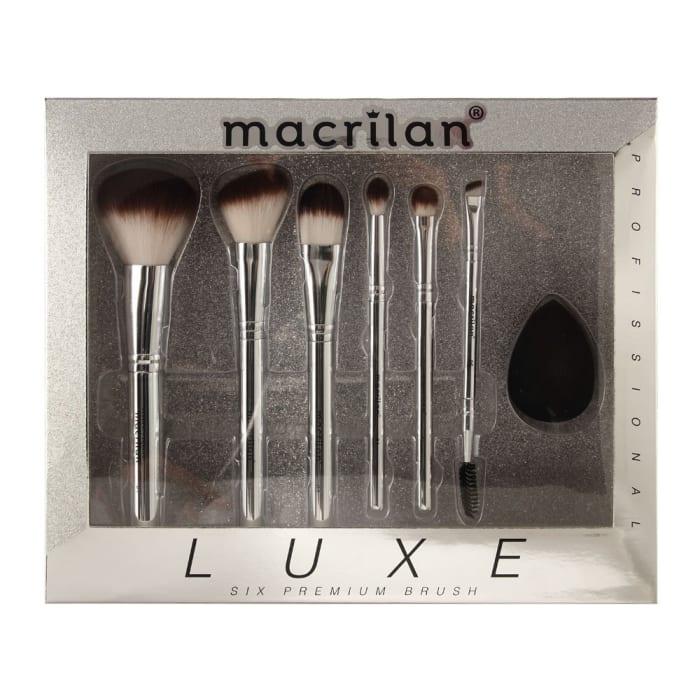 Kit com 6 Pincéis Profissionais e 1 Esponja Luxe - ED002 - Macrilan (big)