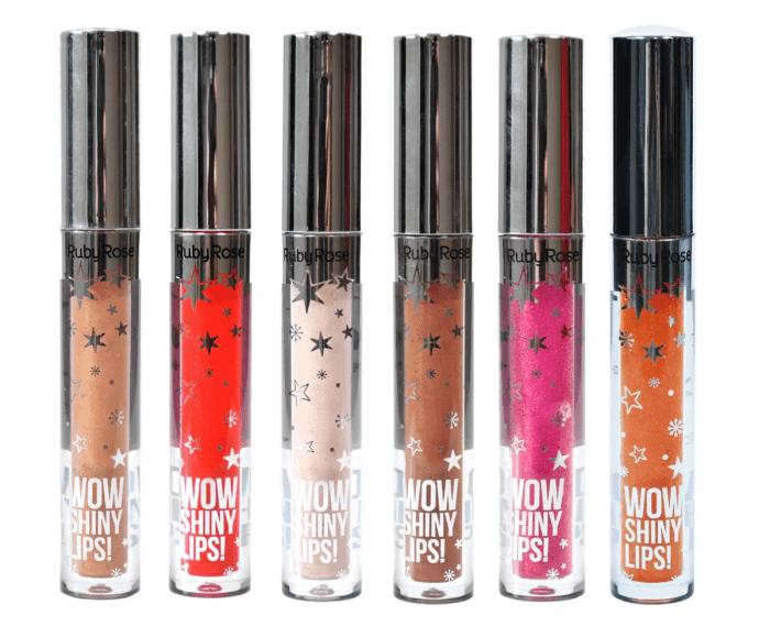 Kit c/6 Un - Gloss Labial - Wow Shiny Lips Grupo 3 Ruby Rose - HB8218 (big)