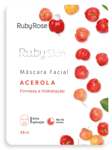 Kit c/10 Un - Sachê Máscara Facial de Tecido Acerola Ruby Skin 25ml  - Ruby Rose - HB701 (big)
