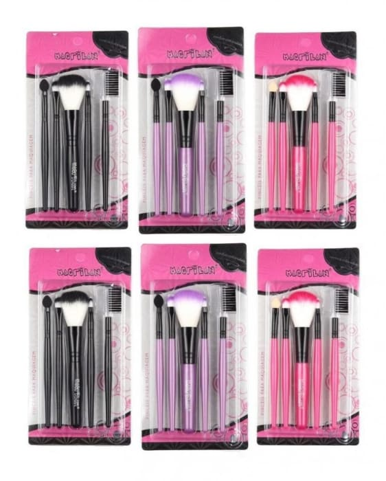Kit c/6 Un - Kit com 5 Pincéis para Maquiagem Cores Sortidas - KP3-1 - Macrilan (big)