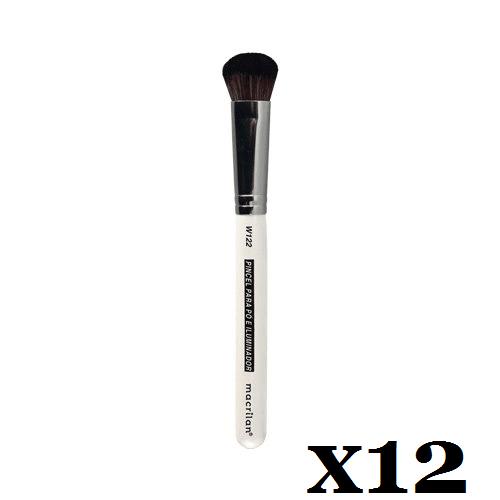 Caixa C/ 12 Und. - Pincel W122 profissional para pó e iluminador Macrilan – Linha W (big)
