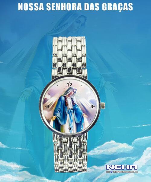 Nossa Senhora das Graças Relógio Feminino Cromado 3330 (0)