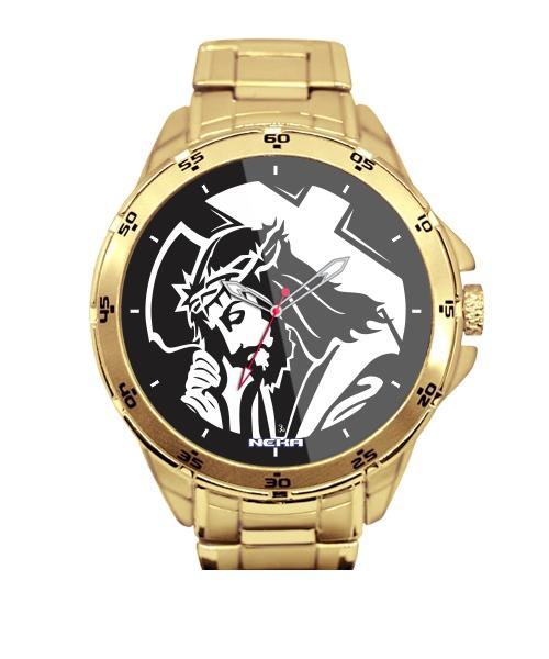 Relógio Personalizado Jesus Cristo na Cruz Dourado 5776 (0)