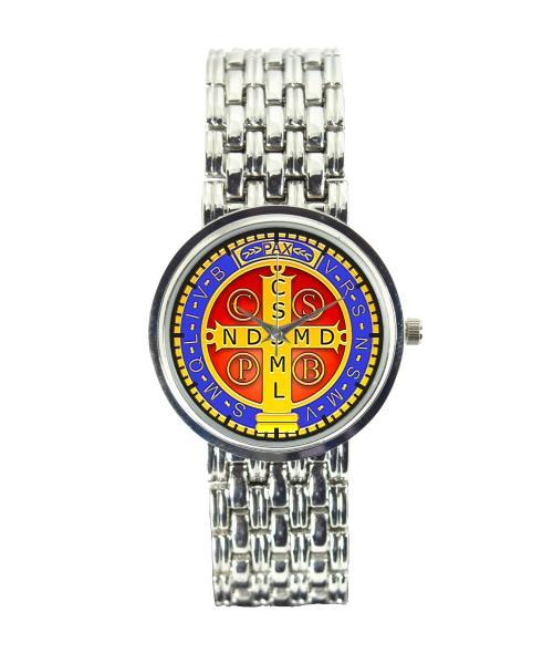 Medalha de São Bento Relógio Personalizado Feminino Cromado 3330 (0)