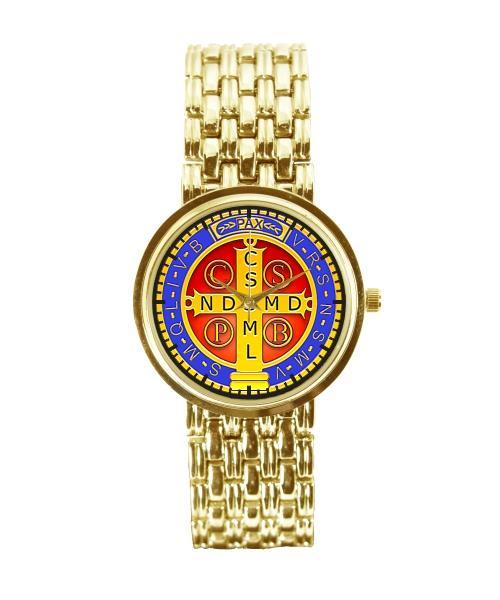 Medalha de São Bento Relógio Personalizado Feminino Dourado 3330 (0)