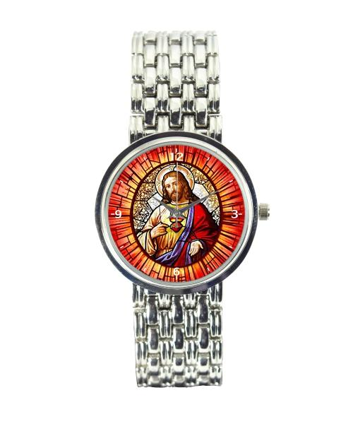 Sagrado Coração de Jesus Relógio Personalizado Feminino Cromado 3330 (0)