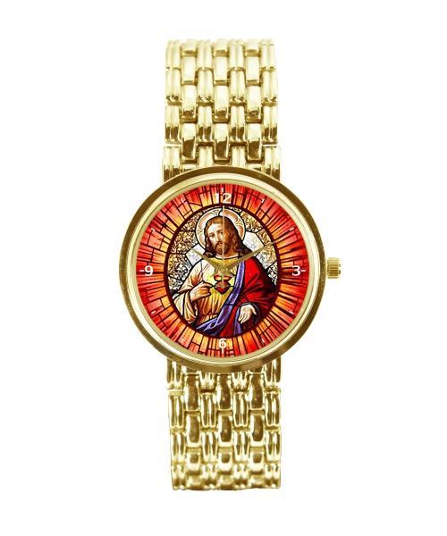 Sagrado Coração de Jesus Relógio Personalizado Feminino Dourado 3330 (0)