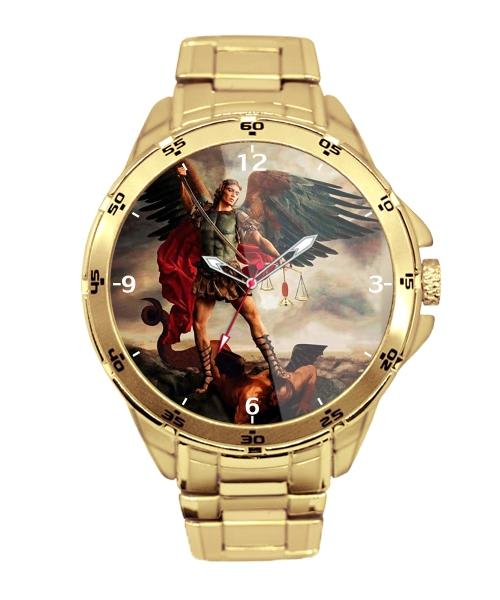 São Miguel Arcanjo Relógio Personalizado Dourado 5776 (0)