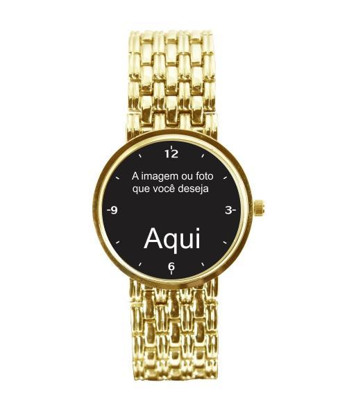 Relógio Personalizado Foto Imagem Feminino Dourado 3330 (0)