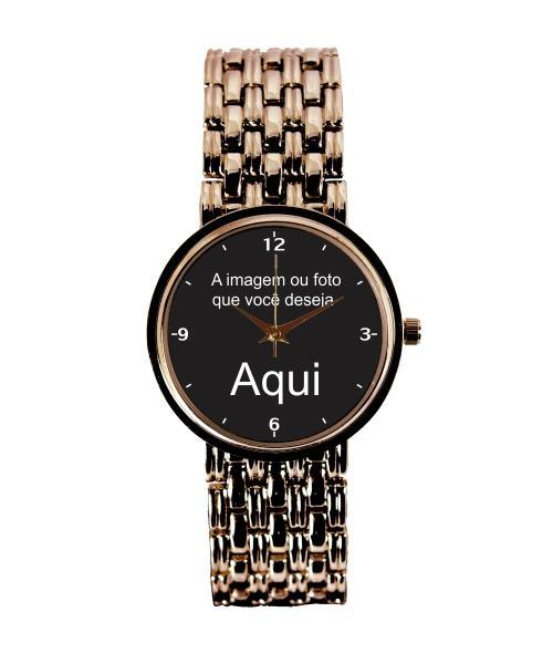 Relógio Personalizado Foto Imagem Feminino Cobre 3330 (0)