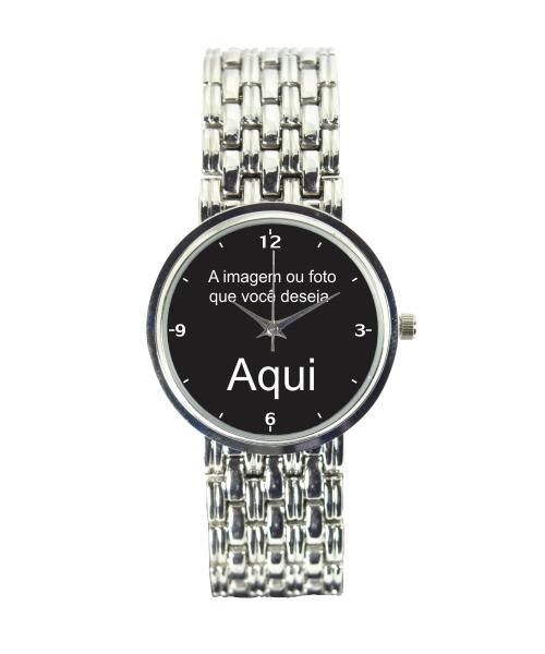 Relógio Personalizado Foto Imagem Feminino Cromado 3330 (0)
