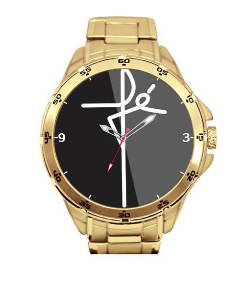 Relógio Personalizado Dourado Fé  Fundo Preto 5776 (0)