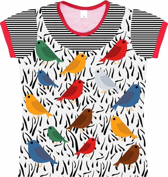 Camiseta Infantil Feminina Passarinhos frente