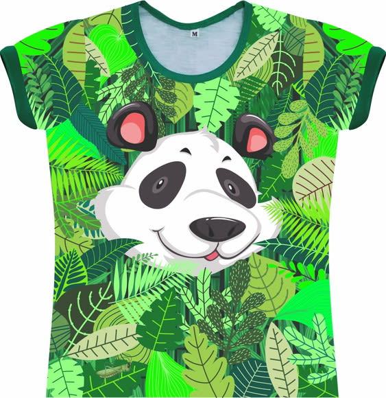 Camiseta Infantil Feminina Panda na Floresta frente