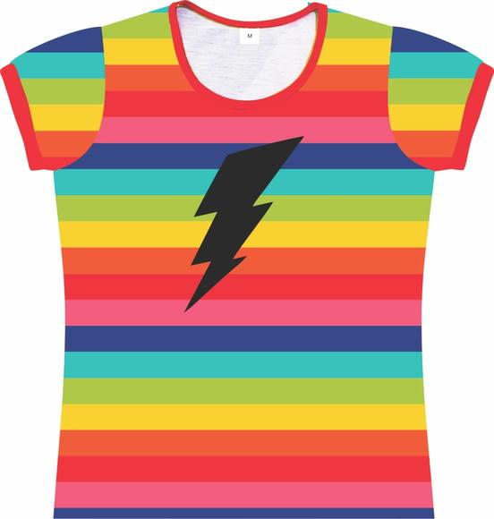 Camiseta Infantil Feminina Arco Íris listras frente