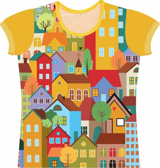 Camiseta Infantil Feminina Casinhas frente