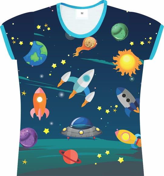Camiseta Infantil Feminina Espacial frente