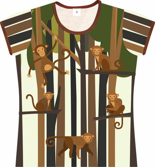 Camiseta Infantil Feminina macacos frente