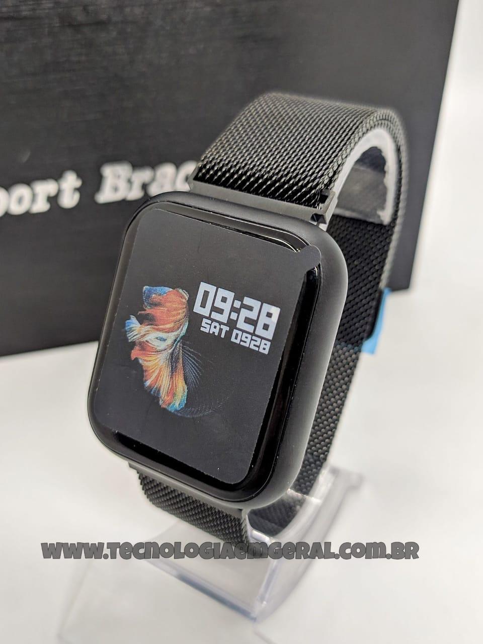 Relógio Smartwatch P80 TFIT Duas Pulseiras Preto