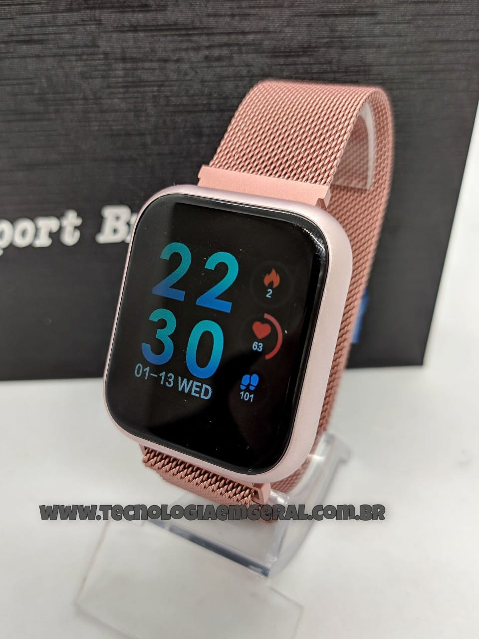 Relógio Smartwatch P80 TFIT Duas Pulseiras - Rosa.