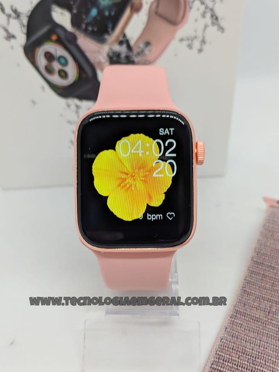 Relógio Smartwatch IWO 26+ PRO Rosa - A prova d'água (Acompanha 2 pulseiras)