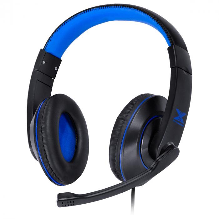 FONE HEADSET GAMER V BLADE II USB COM MICROFONE RETRATIL E AJUSTE DE HASTE PRETO COM AZUL